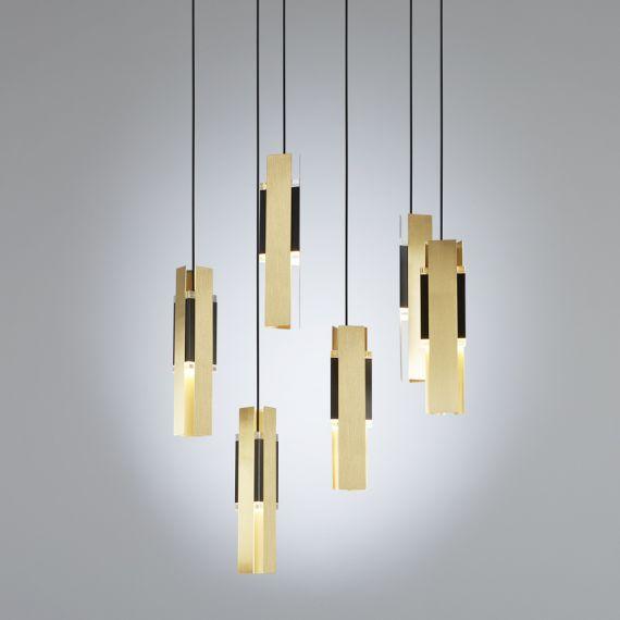 Design kaskaden lampe mit 6 pendeln aus italien for Exklusive pendelleuchten
