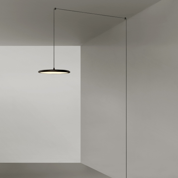 flache runde led h ngeleuchte dimmbar. Black Bedroom Furniture Sets. Home Design Ideas