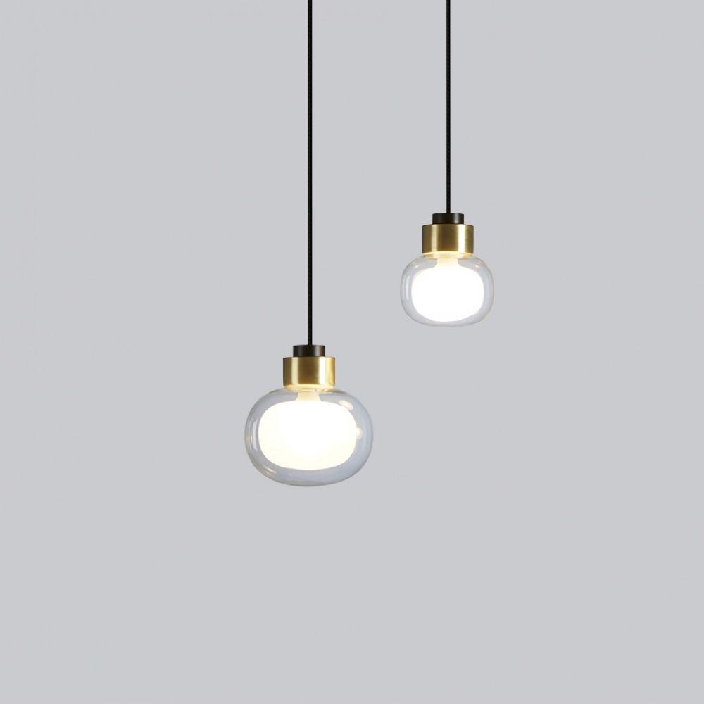 Kleine Design Pendelleuchte mit Glasschirm