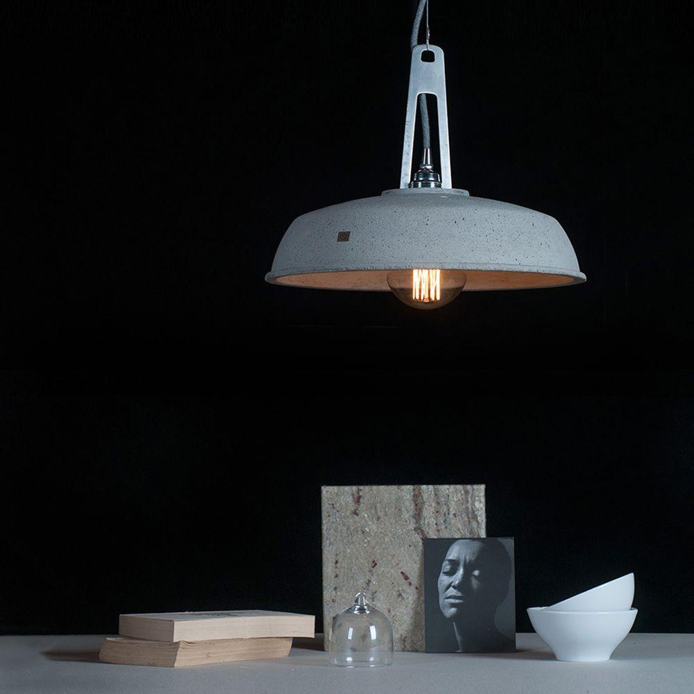 industriedesign lampe mit betonschirm. Black Bedroom Furniture Sets. Home Design Ideas